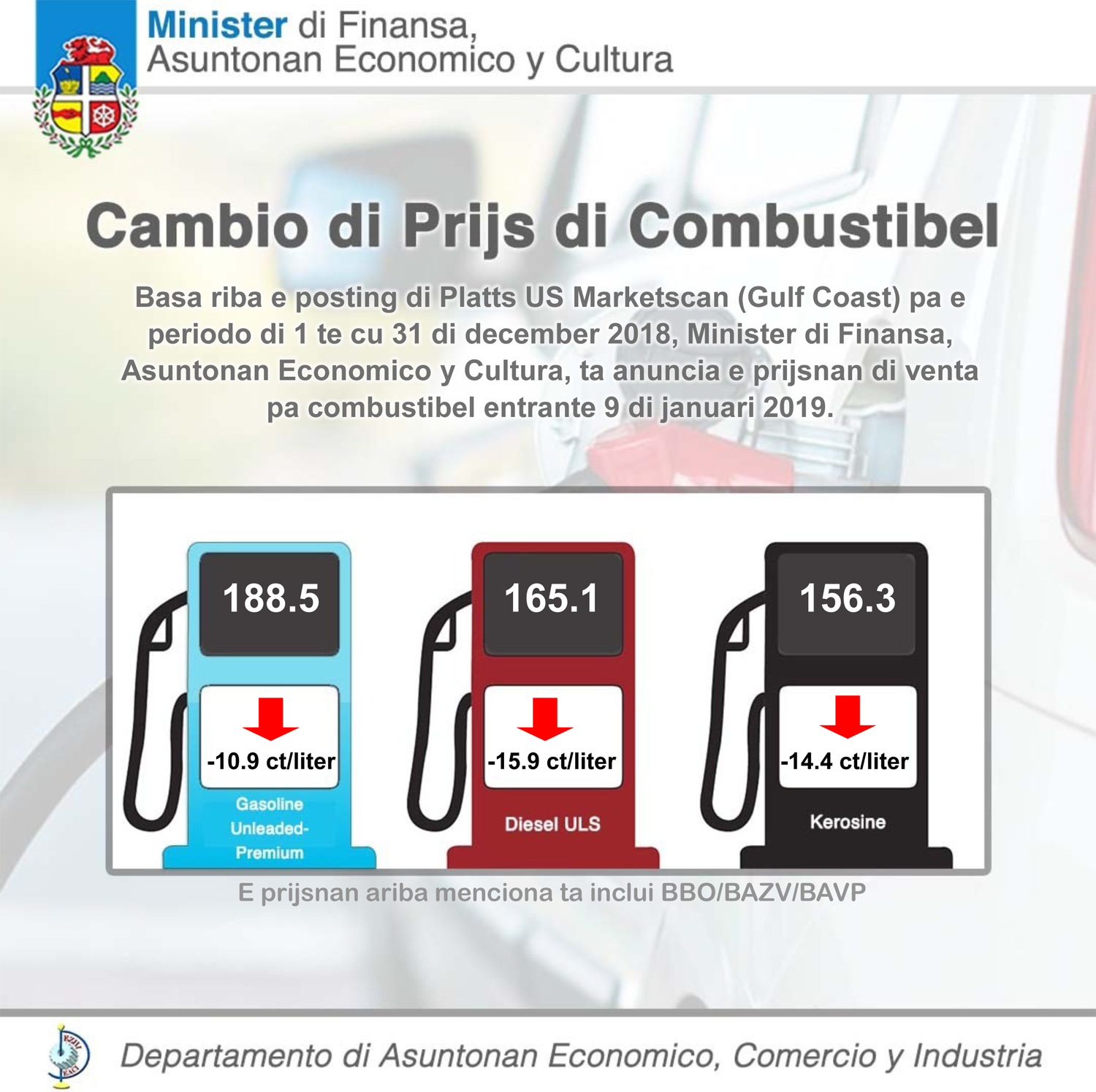 New gasoline price publication | The Department of Economic